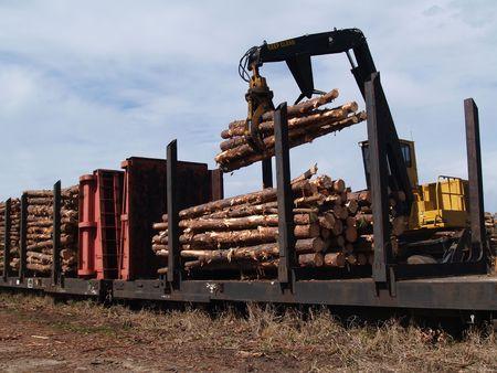 Crane loading cut logs on a railcar.