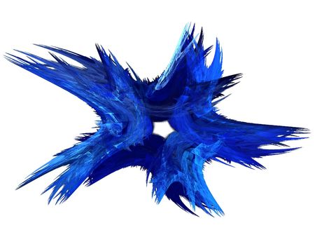 back and forth: Patriotic swirling blue fractal star on a white background. Stock Photo