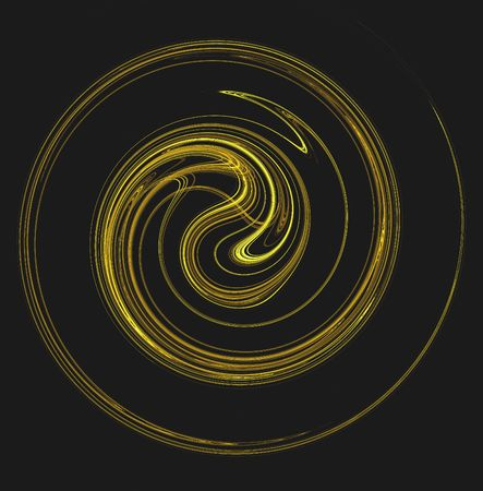 digitally generated: The motion of something gold and yellow spiraling or swirling on a black background.