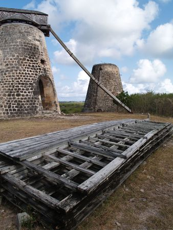 antilles: Old windmills behind paddles on Bettys Hope Plantation near Seatons, Pares on Antigua Barbuda in the Caribbean Lesser Antilles West Indies.