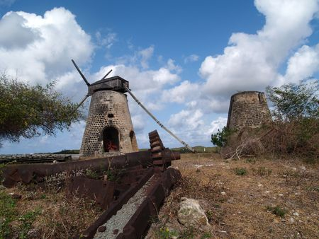 antilles: Old gears in front of an old windmill on Bettys Hope Plantation near Seatons, Pares on Antigua Barbuda in the Caribbean Lesser Antilles West Indies.
