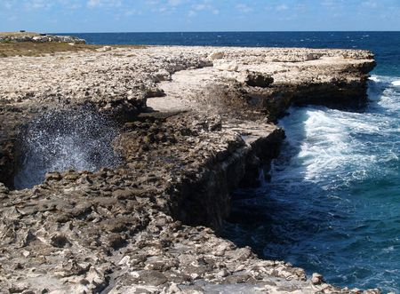 antilles: Devils Bridge at Indian Town Point National Park on Antigua Barbuda in the Caribbean Lesser Antilles West Indies. Stock Photo