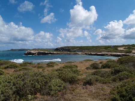 antigua: View of surrounding area around Devils Bridge at Indian Town Point National Park on Antigua Barbuda in the Caribbean Lesser Antilles West Indies.    Stock Photo