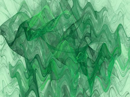 jpg: Variegated Wavy fractal background in shades of green. Stock Photo