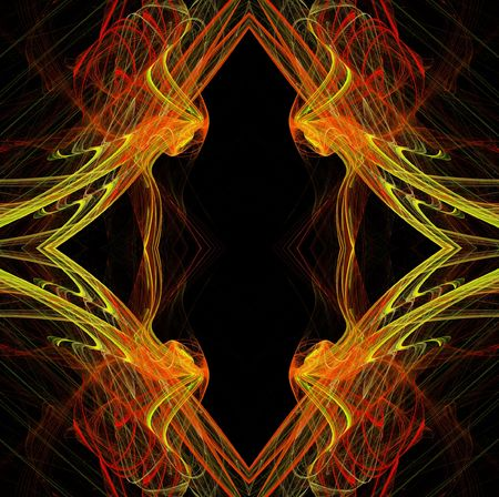 continuous: Diamond shaped continuous fractal pattern in yellow and red on a black background.