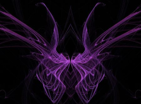 Abstract fractal illusion of purple butterfly wings on a black background.