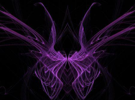 Abstract fractale illusie van roze vlinder vleugels op een zwarte achtergrond.