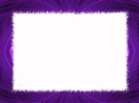 grounds: Purple Fractal Border with White Copy Space. Stock Photo