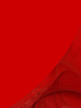 digitally generated: Red background copy space with a corner design of transparent rolling layers. Stock Photo