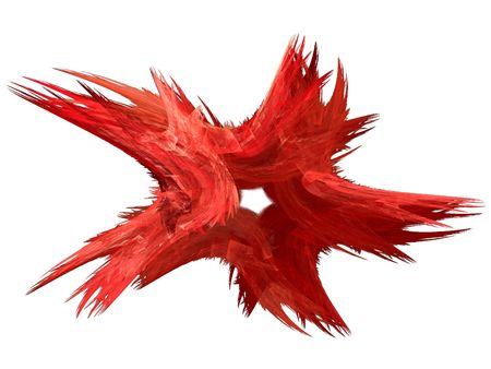 back and forth: Patriotic swirling red fractal star on a white background.