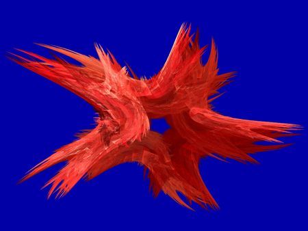 back and forth: Patriotic swirling red fractal star on a blue background.