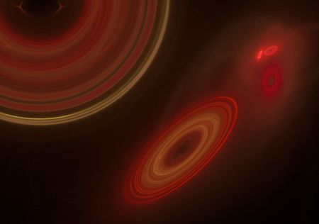 Outer space fractal design displaying many galaxies in shades of red. Stock Photo - 4754065