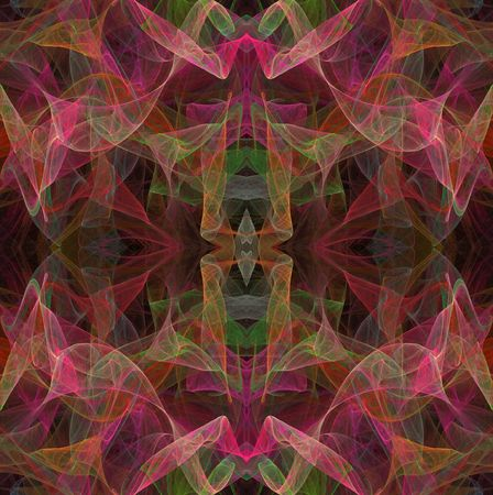 digitally generated image: Seamless, continuous, repeating fractal pattern in multi-colored transparent layers. Stock Photo