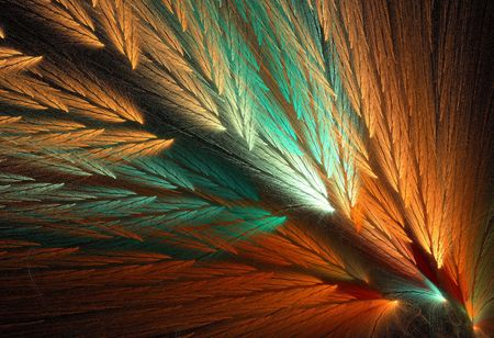 variegated: Orange and green colored feather fractal shaped similar to parrot wings.