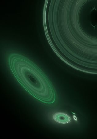 galaxies: Outer space fractal design displaying many galaxies in shades of green. Stock Photo