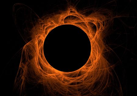 Orange fractal eclipse with solar flares on a black background. Stock Photo