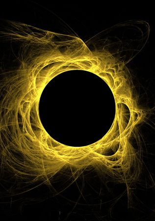 Yellow fractal eclipse with solar flares on a black background. Stock Photo - 4855502