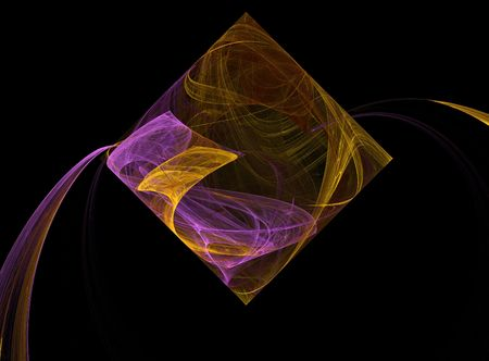 Square or diamond that looks like it is pouring something out In Mardi Gras colors of purple and gold .