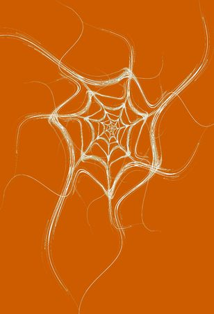 spun: White fractal spider web design on an orange background that is ideal for Halloween,