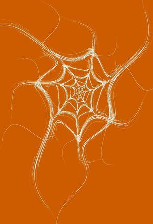 jpg: White fractal spider web design on an orange background that is ideal for Halloween,