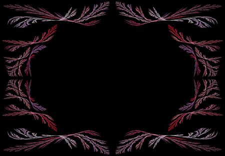 Leafy pink, red and lavender fractal frame or border with black copy space. photo