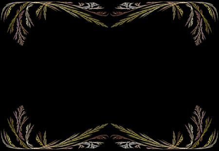 Leafy gold and pink fractal frame or border with black copy space. photo
