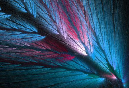 De plumas de color rosa y azul, o verde azulado o agua en forma de fractales similares a las alas loro. Foto de archivo - 5294820