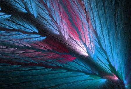 variegated: Pink and blue, or teal or aqua colored feather fractal shaped similar to parrot wings. Stock Photo
