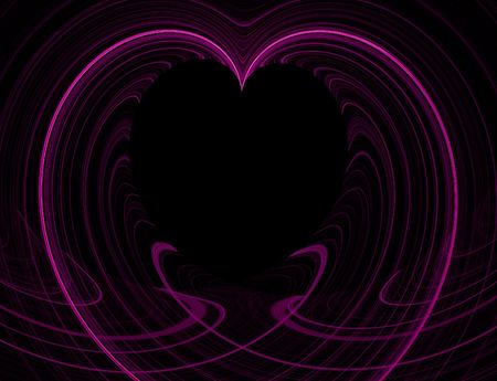 Black Heart Copy Space surrounded by pink fractal design. Stock Photo - 5458602