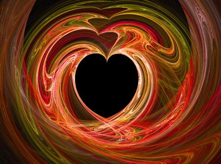 A black heart surrounded by swirls of reds. photo