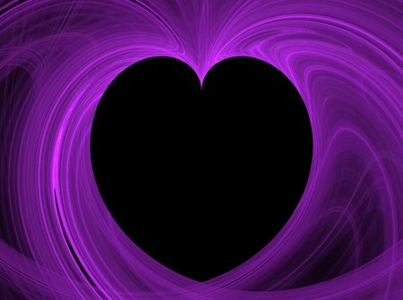 Black Heart Copy Space surrounded by purple fractal design. photo