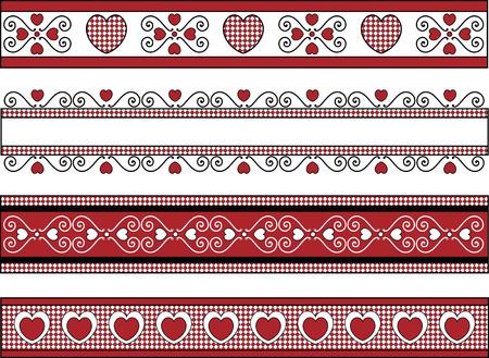 4 つの赤いギンガム チェックと黒と白のバレンタイン国境をトリミングします。