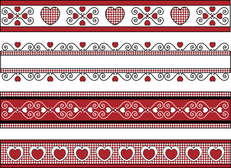 red gingham: four red, black and white Valentine borders with gingham trim. Illustration