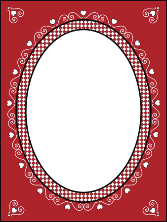 red, black and white Valentine border, frame or tag with gingham trim.