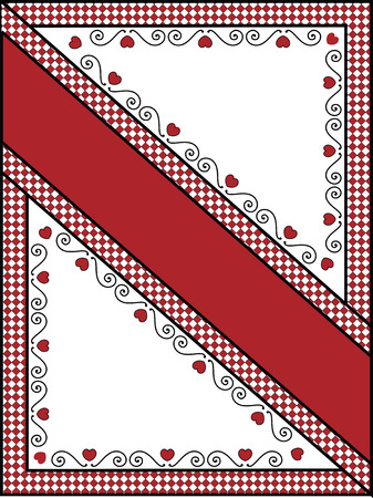 gingham: red, black and white Valentine border, frame or tag with gingham trim.