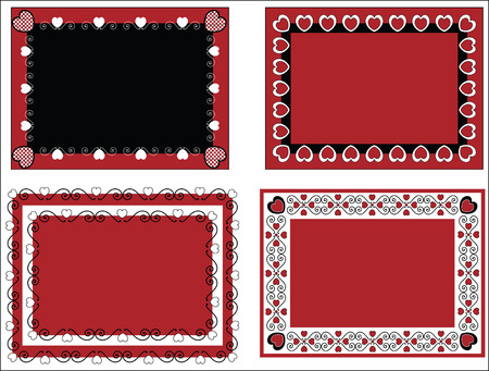 Four red, black and white Valentine borders, frames or tags with gingham trim. Vector
