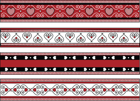 Red, black and white Valentine borders with gingham trim. Vector