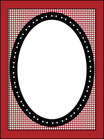 Red, black and white Valentine border, frame or tag with gingham trim. Vector
