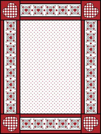 Red, black and white Valentine border, frame or tag with gingham trim. Illustration