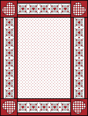 gingham: Red, black and white Valentine border, frame or tag with gingham trim. Illustration