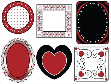 Six red, black and white Valentine borders, frames or tags with gingham trim. Vector