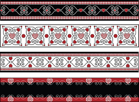 Red, black and white vector Valentine borders with gingham trim.  Vector