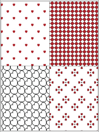 Four red, black and white Vector Valentine wallpaper backgrounds made by swatches.