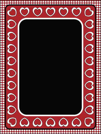 Red, black and white vector Valentine border, frame or tag with gingham trim. Vector