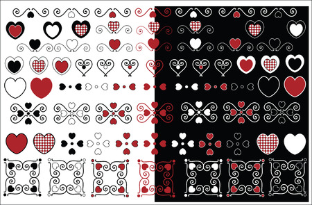 Red, black and white vector valentine designs with gingham trim in a variety of color combinations. Vector
