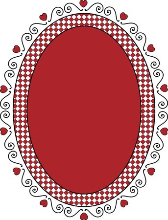 Oval Valentine frame or tag with red copy space, curly hearts and gingham trim. photo