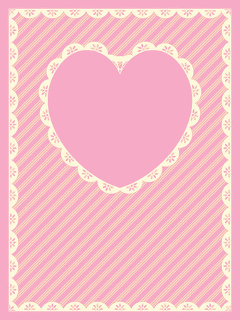 in pink, gold and ecru stripes with Victorian eyelet trim &amp, a heart shaped copy space. Vector