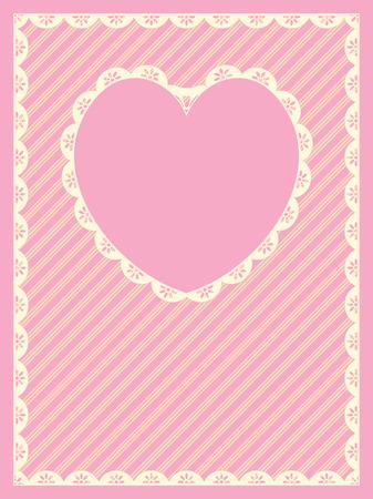 in roze, goud en ecru strepen met snij Victoriaanse eyelet & amp, een hart kopie ruimte vorm gegeven. Stock Illustratie