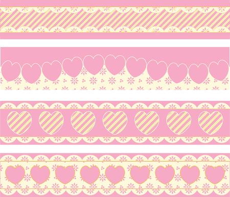 ribetes: Cuatro fronteras con corazones de ojal victoriana y franjas en rosa, oro & amp, ecru.  Vectores