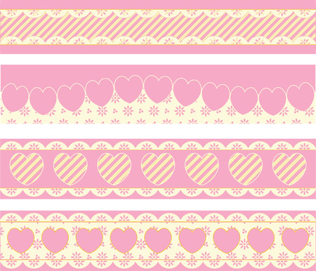 scalloped: Four borders with Victorian eyelet hearts and stripes in pink, gold &amp, ecru.